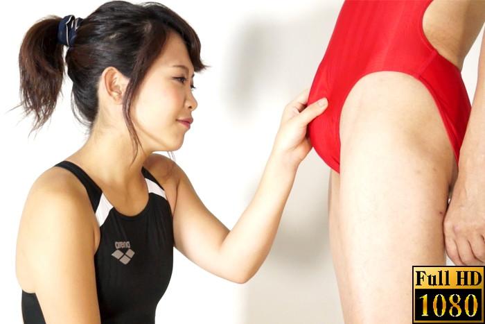 【投稿】【HD】女性用スポーツウェアを着たまま、シゴかれたい!! 競泳水着編3 サンプル画像01
