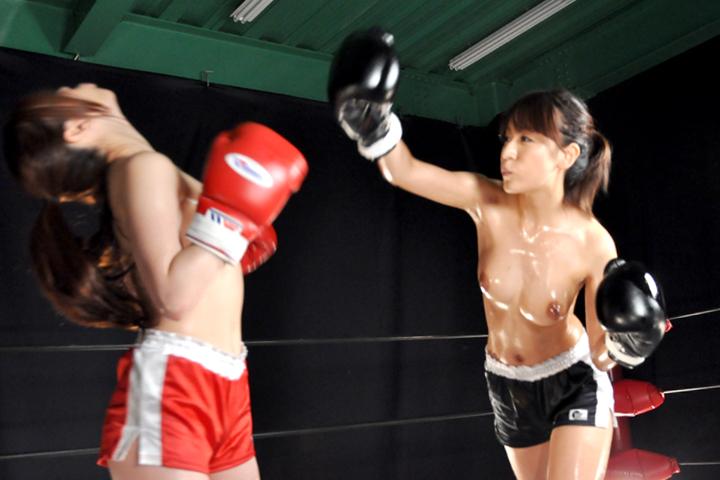 女子ボクシング 巨乳ボクサー 南嶋ナミ 水沢真樹 アッパー