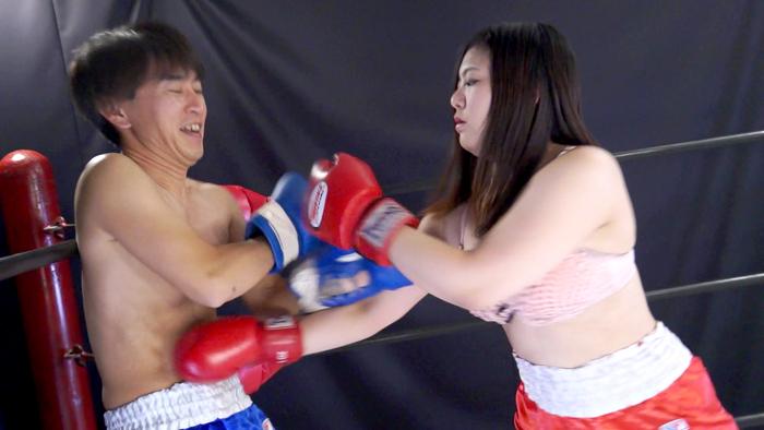 女子ボクシング トランクス 松波しずか 左フック