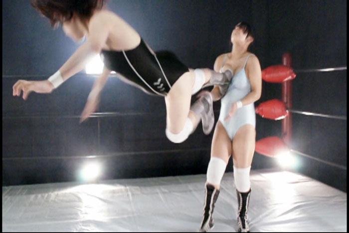 プロレレス技 キャットファイト ドロップキック 中居ちはる 後藤リサ タイトルマッチ