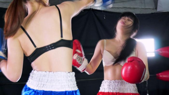 女子ボクシング 鶴田かな  神楽アイネ 右アッパーカット