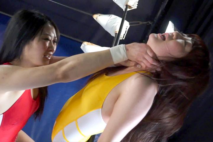 女子プロレス キャットファイト 首締め 一世あみ 琴音はづき