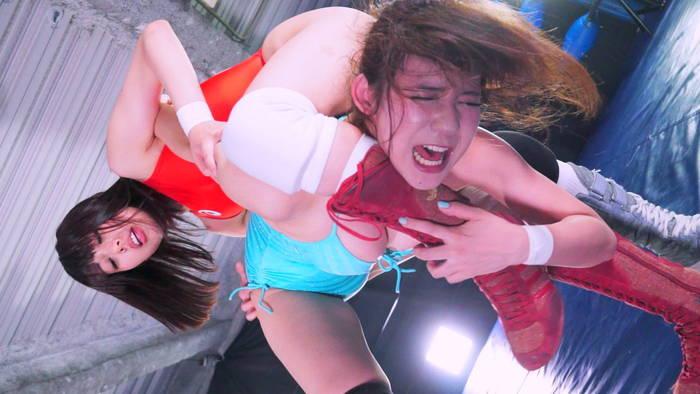 女子プロレス キャットファイト  七海ゆあ 桜乃ゆいな BWP 卍固め